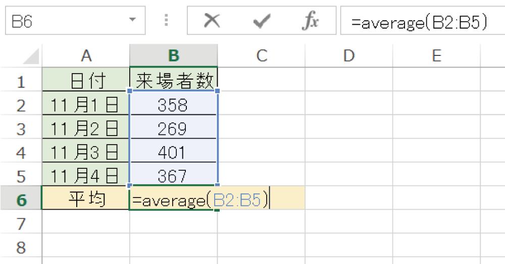 Excelで平均値を求めるAVERAGE関数の使い方3