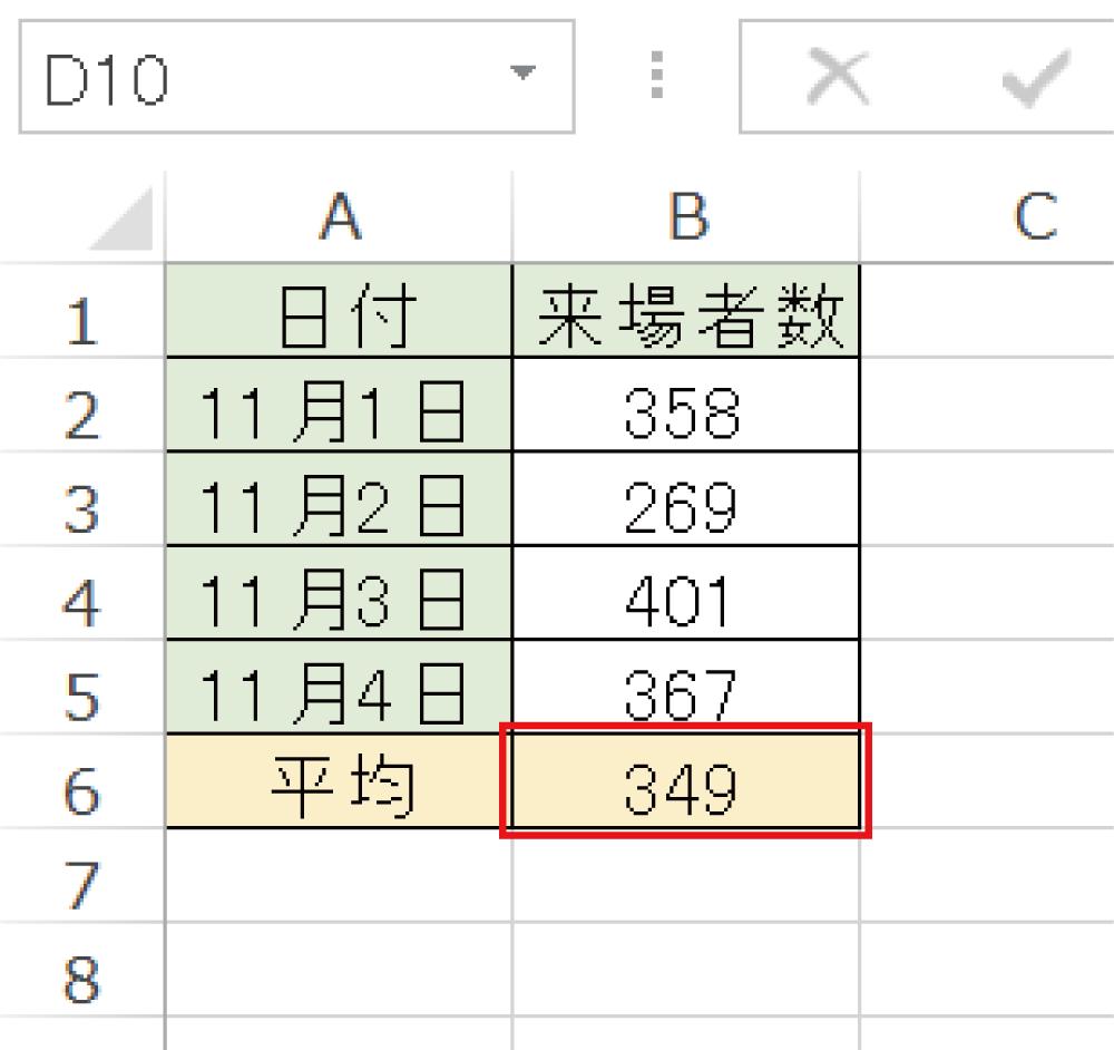 Excelで平均値を求めるAVERAGE関数の使い方4