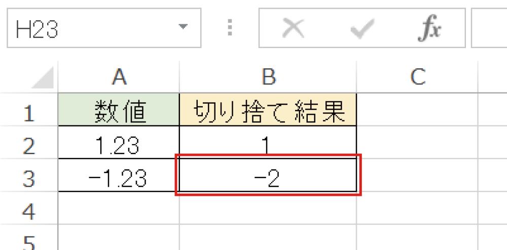 Excelで小数点以下を切り捨てるINT関数の使い方4