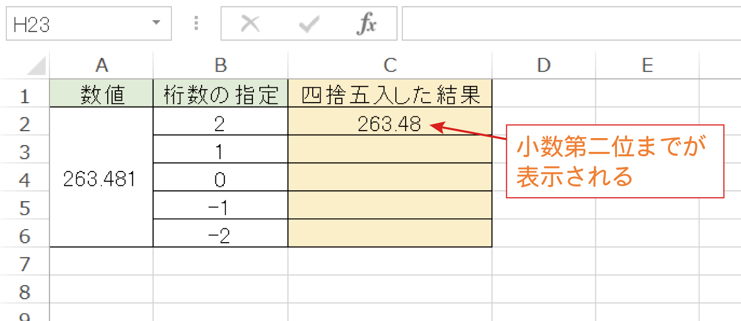 Excelで桁を指定して四捨五入するROUND関数の使い方4