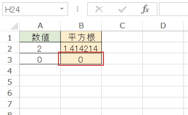 Excelで平方根(ルート)を求めるSQRT関数の使い方4