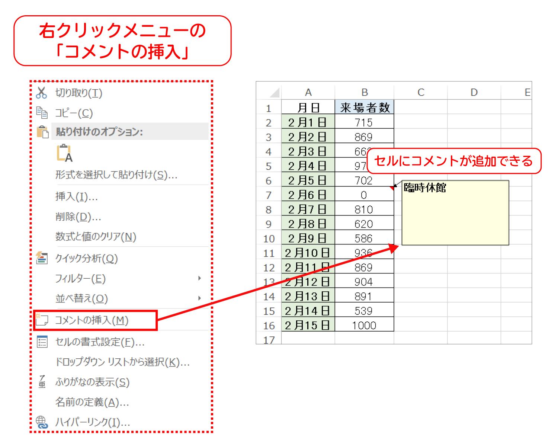 Excelでセルにコメントを挿入する1
