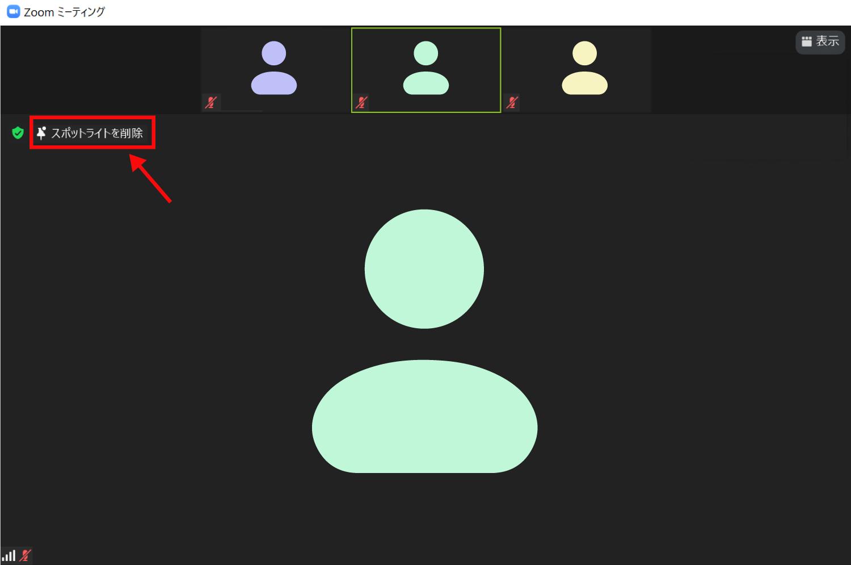 参加者全員に対して特定の人のビデオ画面を大きくするスポットライト機能3