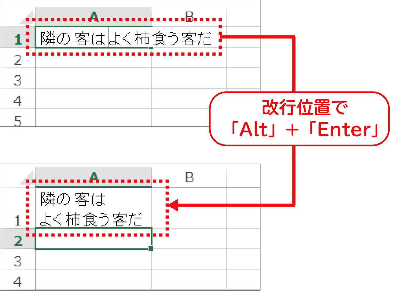 Excelでセルの中で文字を改行する1