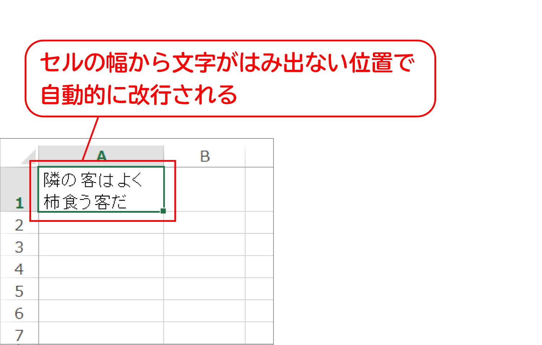 Excelでセルの中で文字を改行する3