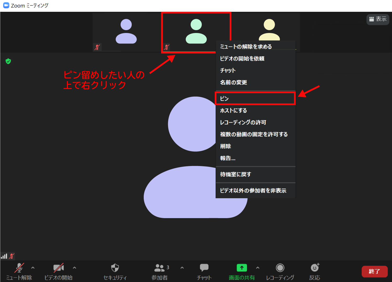 Zoomでスピーカービューで特定の人のビデオ画面を大きくするピン機能(ビデオの固定)1