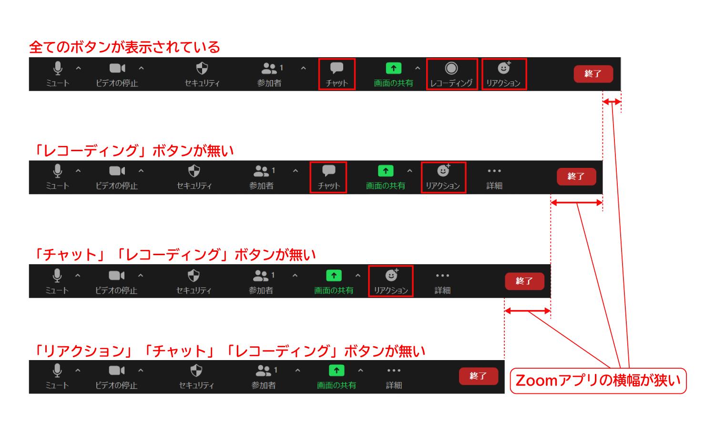 Zoomで「レコーディング」「チャット」「リアクション」ボタンが見つからない時に探す場所2