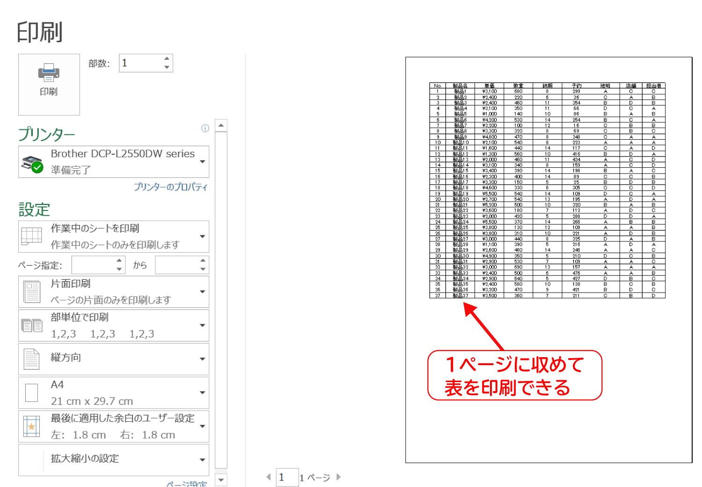 Excelで印刷時にページからのはみ出しを防ぐ印刷設定5