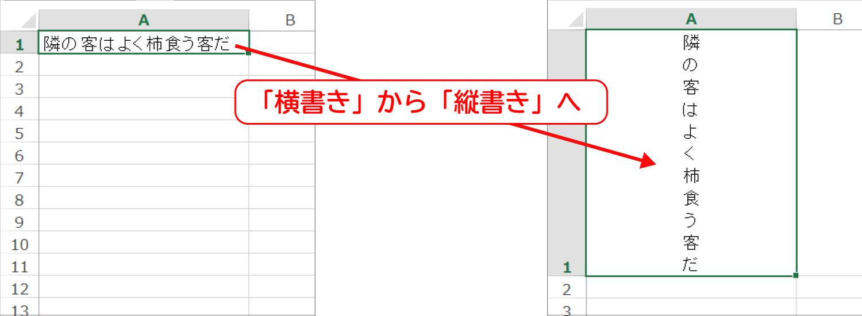 Excelで文字を縦書きにする2