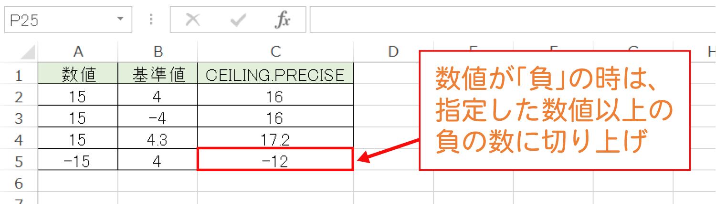 Excelで基準値の倍数に切り上げるCEILING.PRECISE関数の使い方6