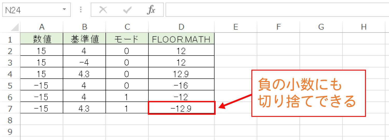 Excelで基準値の倍数に切り捨てるFLOOR.MATH関数の使い方7