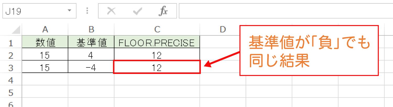 Excelで基準値の倍数に切り捨てるFLOOR.PRECISE関数の使い方4
