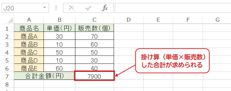 Excelで掛け算してから合計を求めるSUMPRODUCT関数の使い方3