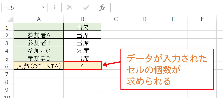 Excelでデータが入力されたセルの個数を数えるCOUNTA関数の使い方3