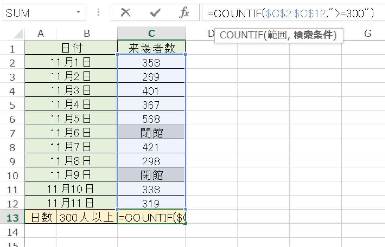 Excelで条件に一致したセルの個数を数えるCOUNTIF関数の使い方2