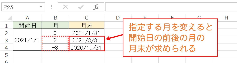 Excelで月末を求めるEOMONTH関数の使い方4