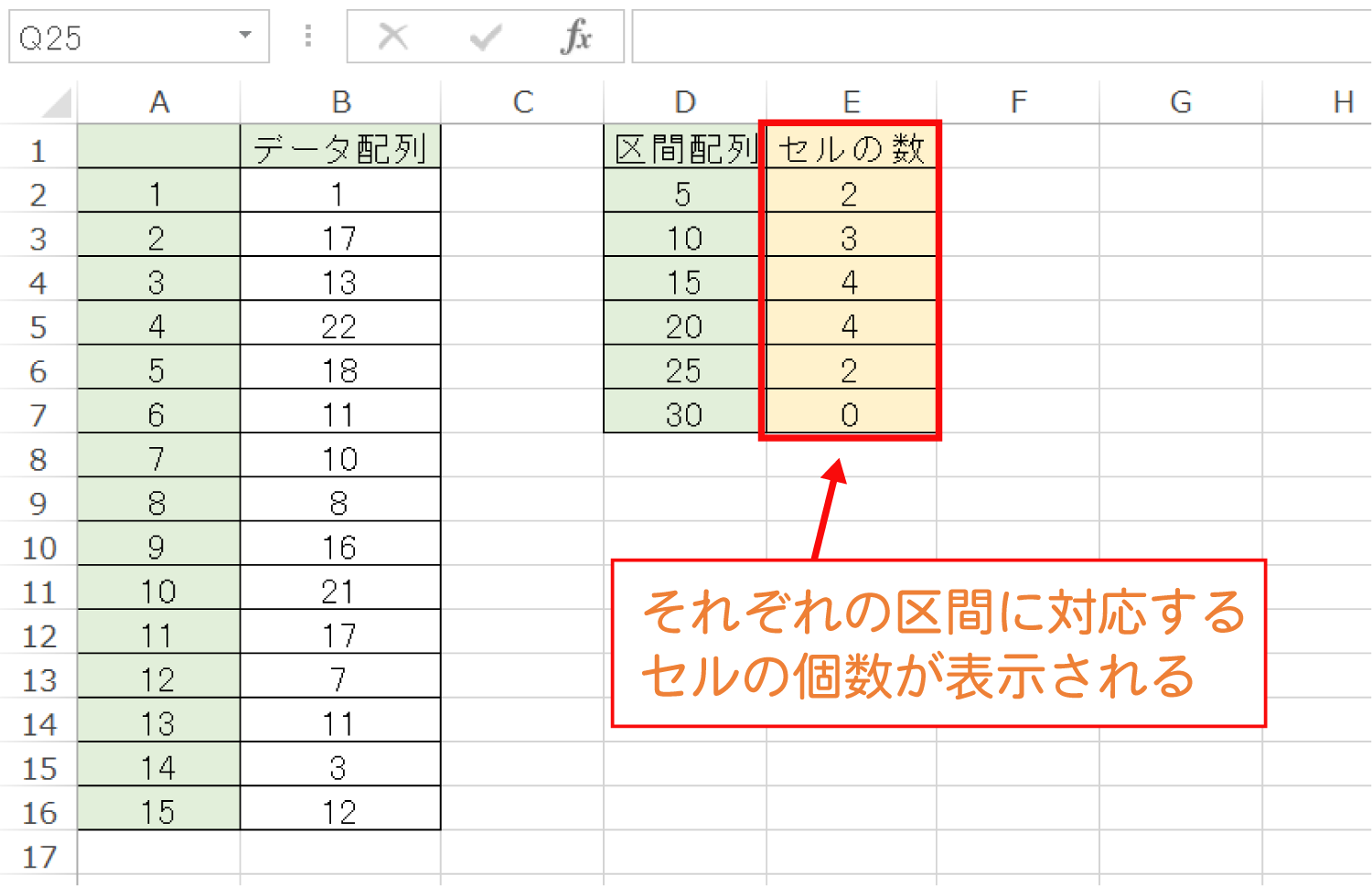 Excelで指定した区間内のセルを数えるFREQUENCY関数の使い方7