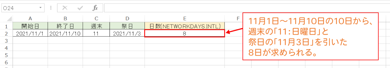 Excelで特定の曜日・祭日を除いて、2つの日付の日数を計算するNETWORKDAYS.INTL関数の使い方3