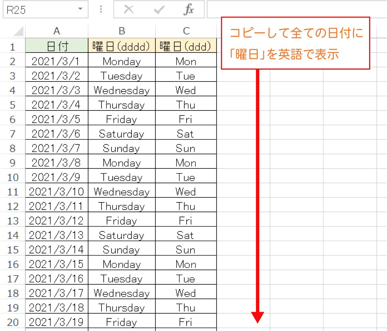 Excelで日付に対応する「曜日」を英語で表示するTEXT関数(曜日:英語)の使い方5