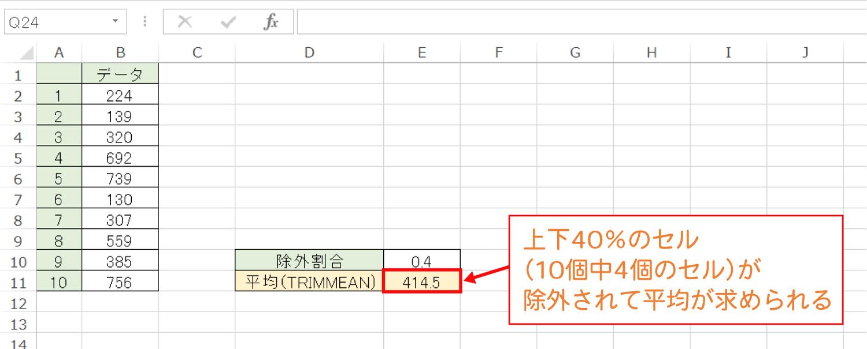 Excelで上限・下限を除外して平均を求めるTRIMMEAN関数の使い方3