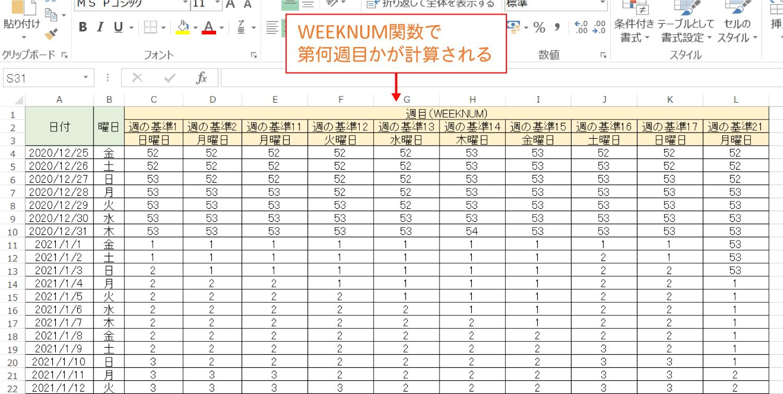 Excelで日付がその年の「第何週目」かを計算するWEEKNUM関数の使い方4